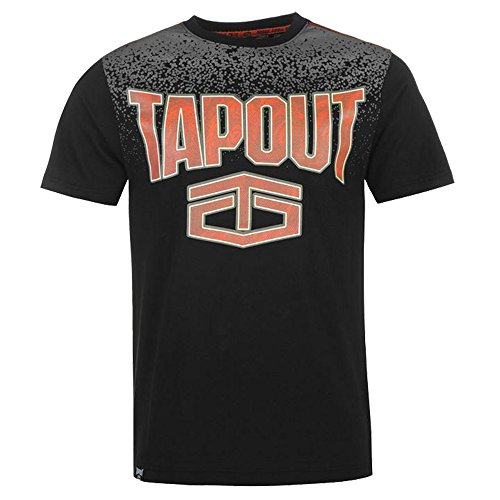 Mens Large Printed Gradient T Shirt Cotton Crew Top (Extra Large, Black) (Shirt T Tapout)
