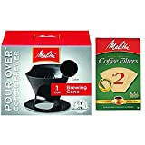 melitta cone 2 - Melitta Pour Over Coffee Cone Brewer & #2 Filter Natural Brown Combo Set, Black