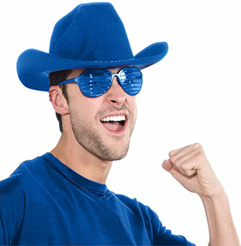 Deluxe Cowboy Hat Team Spirit Adult Unisex, Blue, School Team Colors Fan Gear