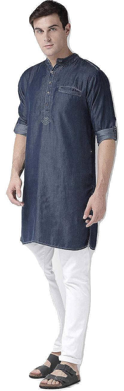 50e4090af13 STYLE QUOTIENT by NOI Men s Navy Blue Solid Long Denim Pathani Kurta ...