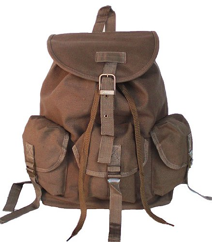 UPC 654367771730, Military Style Drawstring Closure Stylish Backpack Canvas Day Pack Tan