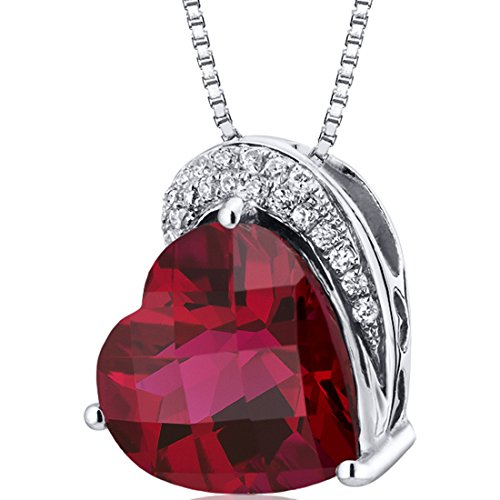Tilted Heart Shape 4.50 carats Sterling Silver Rhodium Finish Created Ruby Pendant