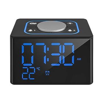 V.JUST LED Reloj Despertador Digital con termómetro Dual USB teléfono de Carga Reloj de