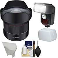Rokinon 14mm f/2.8 Autofocus Full Frame Ultra Wide-angle Lens with Flash + 2 Diffusers + Kit for Canon EOS Digital SLR Cameras