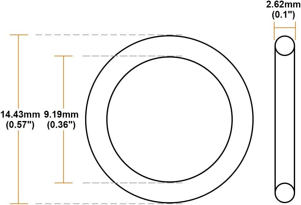 sourcing map 25Stk O Ring Nitrilkautschuk 1,24mm-22,22mm Innendurchm 2,62mm Breite Dichtung 6,02 mm x 11,26 mm x 2,62 mm