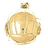 10K Yellow Gold 3-D Volleyball Pendant - 18 mm