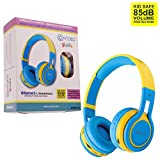 VALENTINES SALE! Contixo KB2600 Kid Safe 85db Foldable Wireless Bluetooth Headphone Built-in Microphone, Micro SD card Music Player, FM Stereo Radio (Blue w/Yellow) - Best Gift