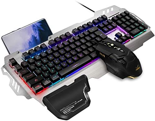 FENIFOX Gaming Keyboard and Mouse, Wired Backlit Rainbow Ergonomic Mechanical Feeling Led Removable Hand Rest Metal Panel,for Windows PC Gamer PS4 Xbox one