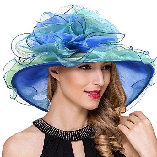 Lady Kentucky Derby Fascinator Church Wedding Dress Tea Party Organza Hat S042b (Blue) by Ruphedy