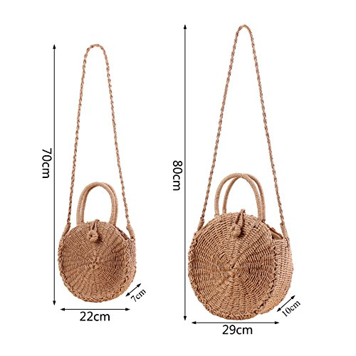 Purse Handbags Beach and Straw Light Crossbody Weave Bag Brown Shoulder Summer Women Round Bag Smile qwzaq8P