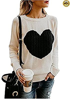Greentree Womens Sweaters Pullover Long Sleeve Cute Front Heart Crew Neck Cable Knit Sweater Jumper Top