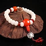 tow hook f250 - Winter's Secret Natural Bodhi Root Bead Silver Amulet Bat Pattern Pendant Bracelet Red