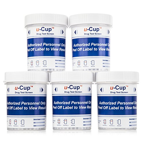 Urine Drug Test Cups: 12 Panel Urine Screening Drug Testing Cups with Instant Results - Test 12 Drugs Including THC, COC, OXY, MDMA, BUP, MOP, BAR, BZO, MET, MTD & PCP - Over The Counter - 5 Pack