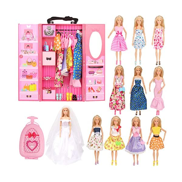 51OEzIzYulL. SS600  - SOTOGO Doll Closet Wardrobe Set for 11.5 Inch Girl Doll Clothes Storage Including Clothes, Shoes, Bags, Necklace…