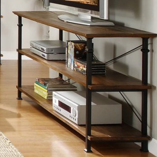 Homelegance Factory Modern Industrial Style Sofa Table, Rustic Brown Country Oak Sofa