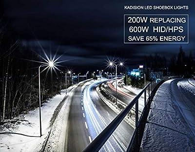 Kadision Parking Lot Lights, LED Shoebox Pole Light, Dust to Dawn Photocell/No-Photocell Convertible, Slip Fitter Mount, IP65 ETL & DLC