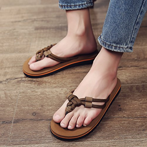 fankou Summer Sandals Men's Men's Field and Trendy Clip Pin Personalized Couples Large Code Beach Slippers,40, Light Brown (m)