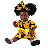 Binory 45cm Black Girl Dolls Baby Play Dollsfor African American Dolls Kids Holiday and Birthday Gift(F)