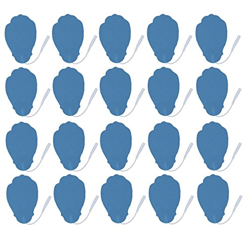 10 Pairs of Pin-inserted Long Life Replacement Self-Adhesive Large Hand-shaped Electrode Pads for HealthmateForever Powerful Digital Pulse Massager (blue)