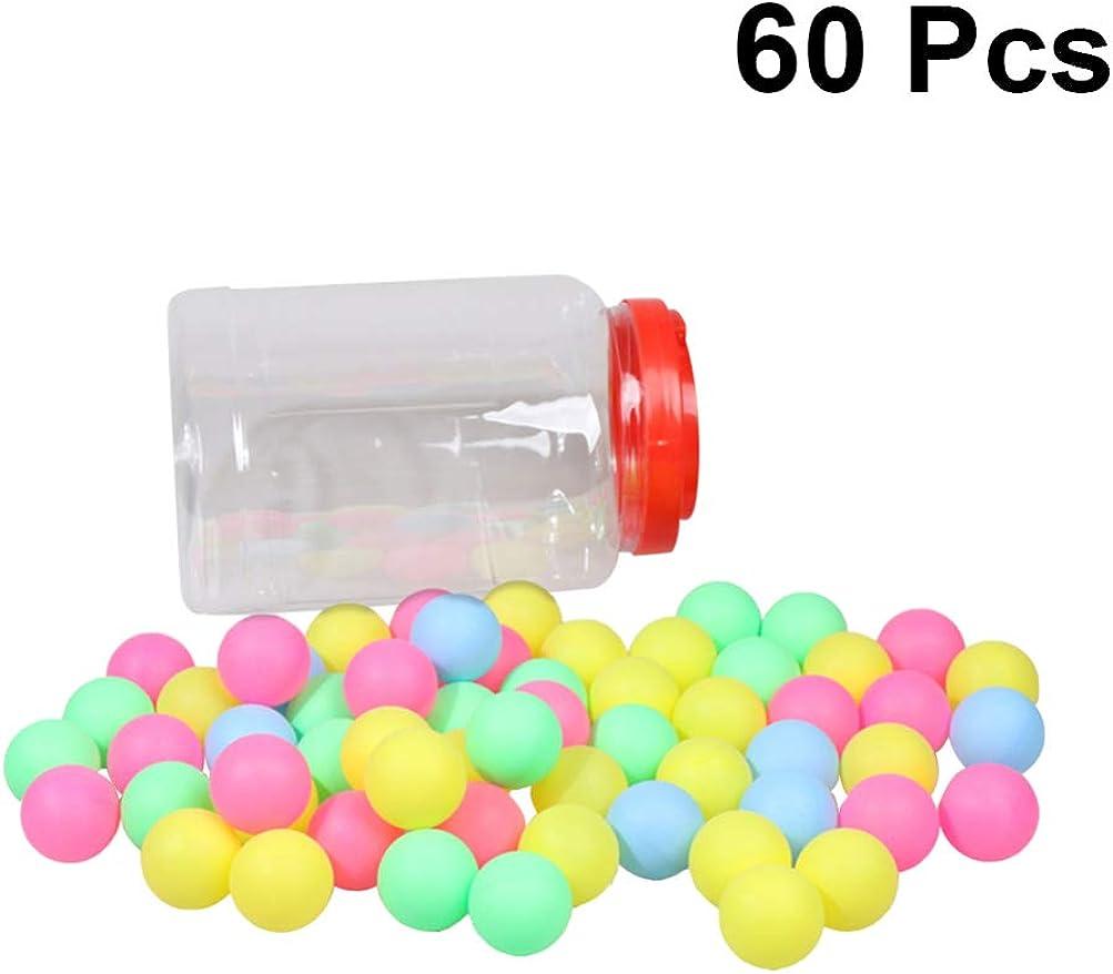 BESPORTBLE 60Pcs Ping Pong Ball Surtido de Plástico Lavable Tenis de Mesa con Cubo de Almacenamiento para Entrenamiento Decoración Lotería