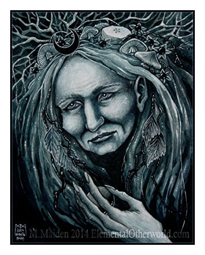 Dark Moon Crone, signed A4 print, crone, hag, elder, wise woman, cunning woman, witch illustration by Elemental Otherworld Wise Signed