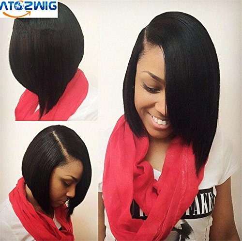 [ATOZWIG Side Bang Lace Front Wig Short Bob Wigs For Black Women Side Parts Bob Wig with Bangs Synthetic] (Black Bob Wig With Bangs)
