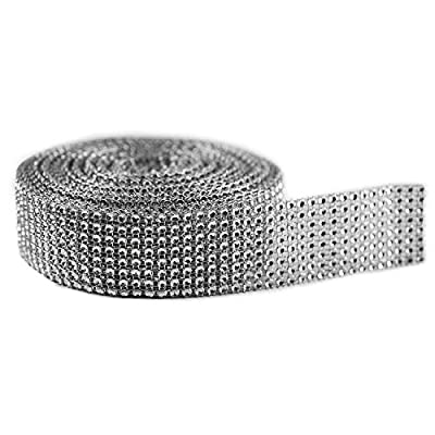 "Silver Diamond Sparkling Rhinestone Mesh Ribbon for Event Decorations, Wedding Cake, Birthdays, Baby Shower, Arts & Crafts, 1.5"" x 10 Yards, 8 Row, 1 Roll by Super Z Outlet®"