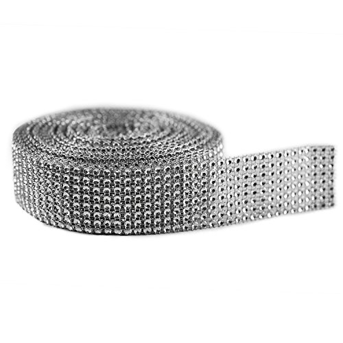 Silver Diamond Sparkling Rhinestone Mesh Ribbon for Event Decorations, Wedding Cake, Birthdays, Baby Shower, Arts & Crafts, 1.5