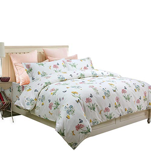 FADFAY Butterfly Meadow Duvet Cover Set 3-Piece Hypoallergenic 100% Cotton Stain Drill Farmhouse Bedding Floral Bedding with Hidden Zipper Closure 3 Pieces, King/California King Size