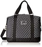 Travel Weekender Overnight Carry-on Shoulder Duffel Tote Bag (8' x 12' x 16 (Large), Black & White Polka Dots)