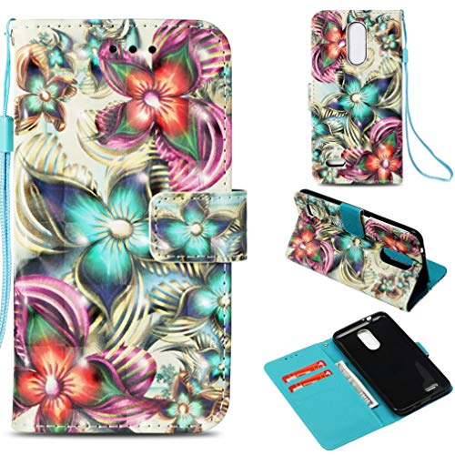 LG K8 2018 Case,Anti-Scratch Full Cover Pu Leather Wallet Case Dust Proof Lightweight with Inner Bumper Credit Card Holder with Wrist Strap Kickstand Case for LG K8 2018 -Kaleidoscope ()