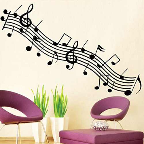 Music Notes Symbol Wall Decal PVC Home Sticker House Vinyl Paper Decoration WallPaper Living Room Bedroom Kitchen Art Picture DIY Murals Girls Boys kids Nursery Baby Playroom Decor