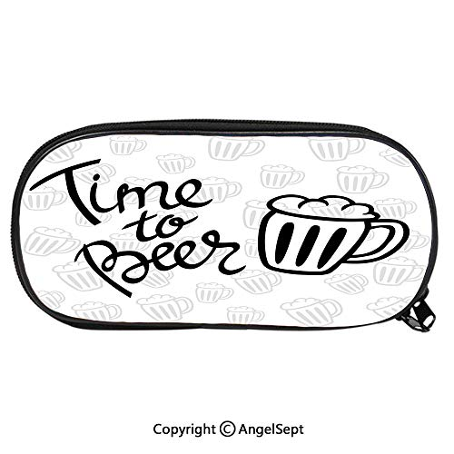 Child Pencil Case Time to Beer Quote Cartoon Style Hand Drawn Mugs Foamy Lager Ale School Pen Bag Stationary Multipurpose Pouch for Girls Makeup Cosmetic BagSilver White Black ()