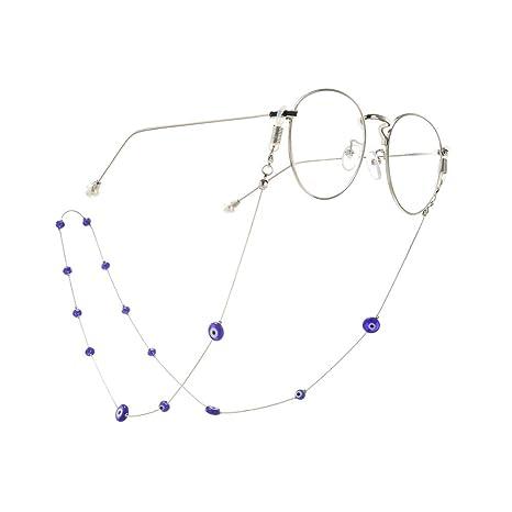 Cadena de gafas de dama Cadena de cuentas azules Titular de ...