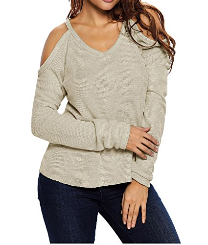 Eiffel Women's Cold Shoulder Knit Long Sleeves Pullover Sweater Tops Blouse Tunic (X-Large, Apricot)