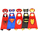 Superhero Dress Up Costumes For Boys and Girls-5 Satin Capes With Felt Masks Comics Cartoon Dress Up Kids Toys