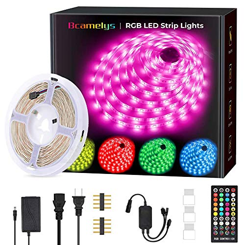 Bcamelys 32.8ft Waterproof RGB 5050 Led Strip Lights with Remote for Home and Bar Decorations