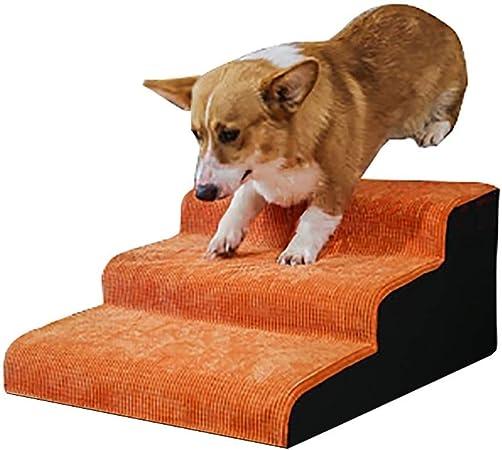 Escaleras y escalones Rampa portátil para escaleras de Mascotas para sofás de Cama Alta, Perros Gatos Escalera de 3 escalones con Fondo Antideslizante, Soporte de 198 LB (Color : Orange): Amazon.es: Hogar