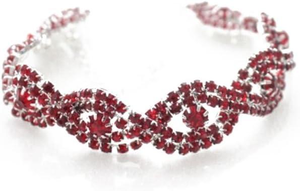 qinlee pulseras cuerda pulsera Piedras Stretch–Pulsera de bodas fiestas bankette Mode regalo para mujer Chica, rojo