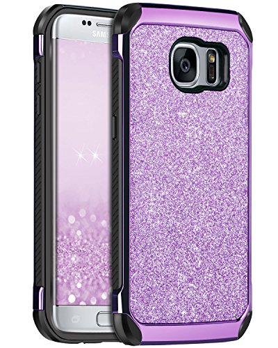 Galaxy S7 Edge Case, Samsung Galaxy S7 Edge Case, BENTOBEN 2 in 1 Luxury Glitter Bling Hybrid Hard Cover Sparkly Shiny Faux Leather Shockproof Bumper Protective Case for Samsung Galaxy S7 Edge, Purple