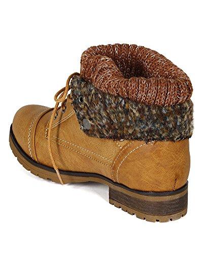 Fold Tan Fur Refresh Leatherette Combat Sweater Trim Knit Bh47 Bootie Down Women aSCIqp