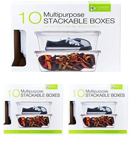 Cajas Transparentes De Plastico Organizador paquete de 30 contenedores con 30 TAPAS