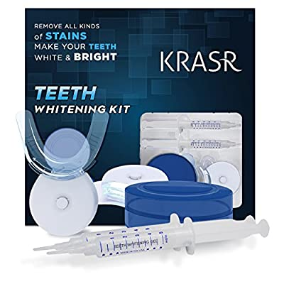 Krasr Teeth Whitening Kit, LED Light, 35% Carbamide Peroxide, (2) 5ml Gel Syringes, Tray and Case