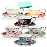 best seller today Tea Cup and Saucer Set of 6, Floral...
