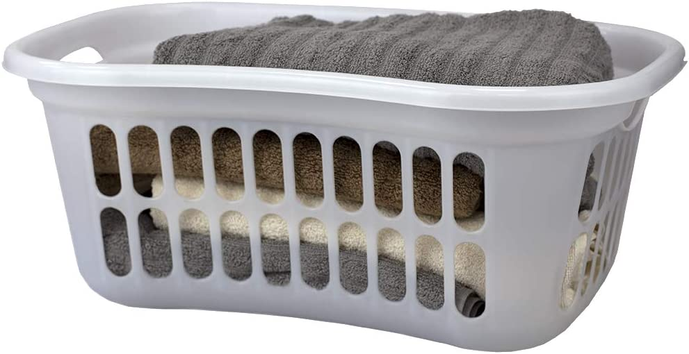 Home Basics, White Curved Hip Holding Large Capacity Lightweight Plastic Laundry Basket with Easy Grab Handles