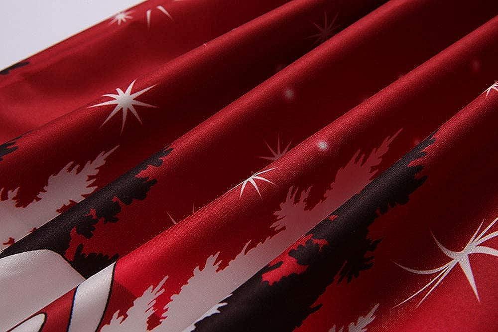 Jushye Merry Christmas Dress,Lace Vintage Santa Claus Print Sleeveless Party Dress