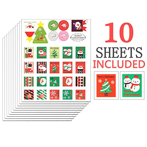 - Shxstore Christmas Holiday Stickers Winter Stamp Stickers Of Snowflake Snowman Stickers For Gift Candy Scrapbook Decoration, 10 Sheets 280 Counts