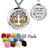 Essential Oil Diffuser Necklace Pendant Aromatherapy Diffuser Locket 49 Pads Women Jewellery Gift for Mum (Family Tree Diffuser Necklace)