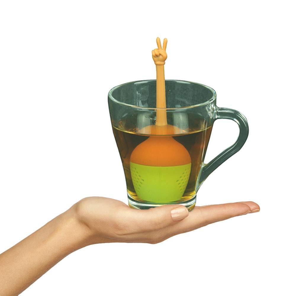 K/üchen-Silikon-Loose Leaf Tea Infuser Lustiger Handgesten-Tee-Ei