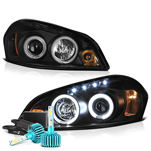 VIPMOTOZ CCFL Halo Ring Black Projector Headlight Lamp Assembly For 2006-2013 Chevy Monte Carlo Impala & Limited Model - Built-In Rainbow RGB CCFL Low Beam, Driver & Passenger Side ()